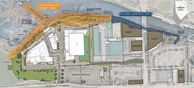 Mayor Paul TenHaken is proposing an investment that could range between $7 and $10 million to improve the west bank of the Big Sioux River in downtown Sioux Falls. The project area, highlighted in orange, would transition between the river and the Sioux Steel redevelopment site.