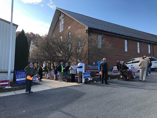 Several candidates stood outside Ridgeview Christian School, the polling place for Augusta County Ward 602 at about 10 a.m. on Election Day.
