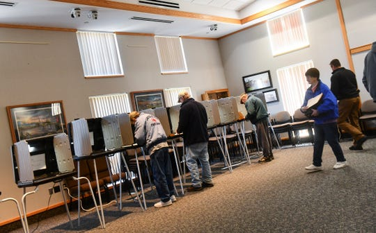 Voters cast their ballots for the Sartell-St. Stephen school district referendum Tuesday, Nov. 5, 2019, at Sartell City Hall.