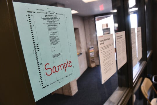 A sample ballot is posted Tuesday, Nov. 5, 2019, at the Sauk Rapids Government Center.