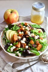 With a little preparation, Fall Harvest Salad with Sweet Potatoes and Apples  comes together in minutes.