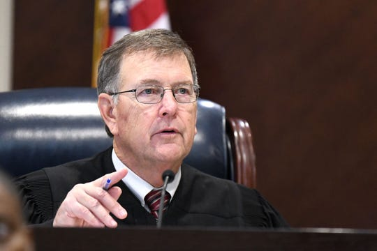 Leon Circuit Judge James C. Hankinson asks potential jurors for the trial against Henry Segura about their opinions on the death penalty Tuesday, Nov. 5, 2019.