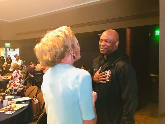 Lesley Visser, a pioneer in female sports media, shares a laugh with FSU Head Basketball Coach Leonard Hamilton during the Third Annual Women United Leadership Breakfast.