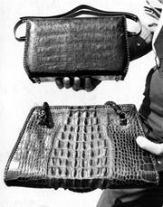 Handbags made from alligator hide.