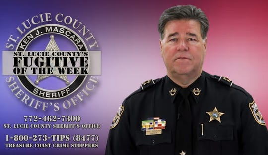 "Sheriff Ken Mascara appears on screen at the end ""St. Lucie County's Fugitive of the Week"" with numbers to call for anyone with information about the person featured in their weekly episode."