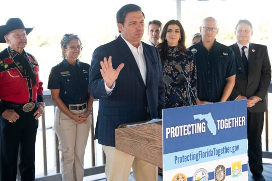 Gov. Ron DeSantis announced a new website that features information on South Florida water conditions on Tuesday, Nov. 5, 2019, at the Florida Oceanographic Society's Coastal Center on Hutchinson Island in Stuart. The site is a collaboration by the Florida Department of Environmental Protection, the state Department of Health, the Florida Fish and Wildlife Conservation Commission and the governor's office.
