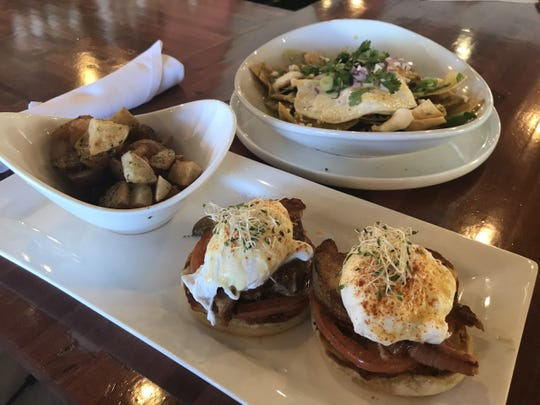 The Eggs Benedict are made with braised pork belly and a side of potatoes. The green chile chilaquiles are another favorite item to order for breakfast.
