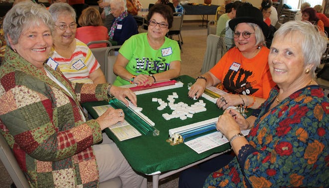Playing may jongg at at the Millville Woman's Club recent game day are (from left) Janet Page, Eileen Woeller, Pam McNamee, EllenBeth Nappen and Marge Corson.