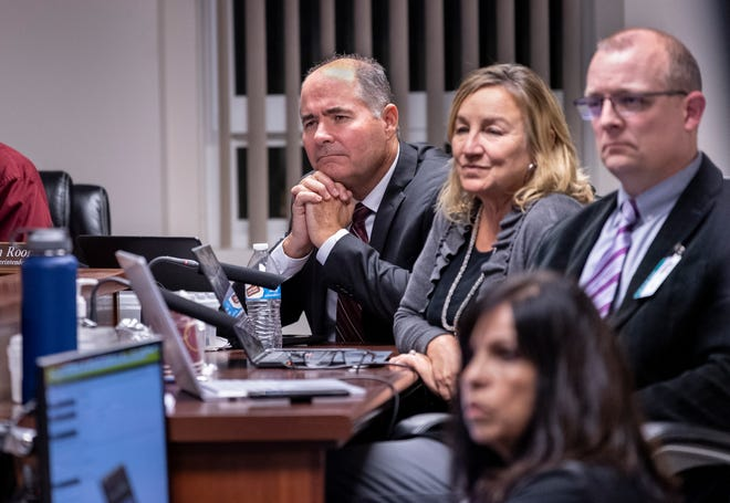 Lindsay Unified Superintendent Thomas Rooney, left, and board members on Monday, Nov. 4, 2019