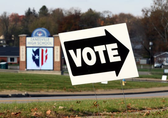 A sign points the way to Faith United Methodist Church on Blue Avenue in Zanesville. It is across the street from Zanesville High School, which had a levy on the ballot this fall.