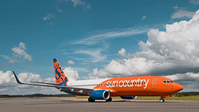 A file photo of a Sun Country jet in the airline's new livery. Sun Country Airlines announced April 27 that it would begin non-stop flights between Green Bay and Fort Myers, Florida, and Phoenix, Arizona, in December 2021.