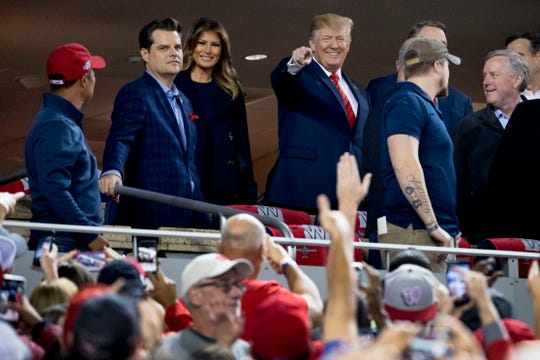 First lady Melania Trump joined President Donald Trump for Game 5 of the World Series game between the Houston Astros and the Washington Nationals at Nationals Park in Washington, Oct. 27, 2019.