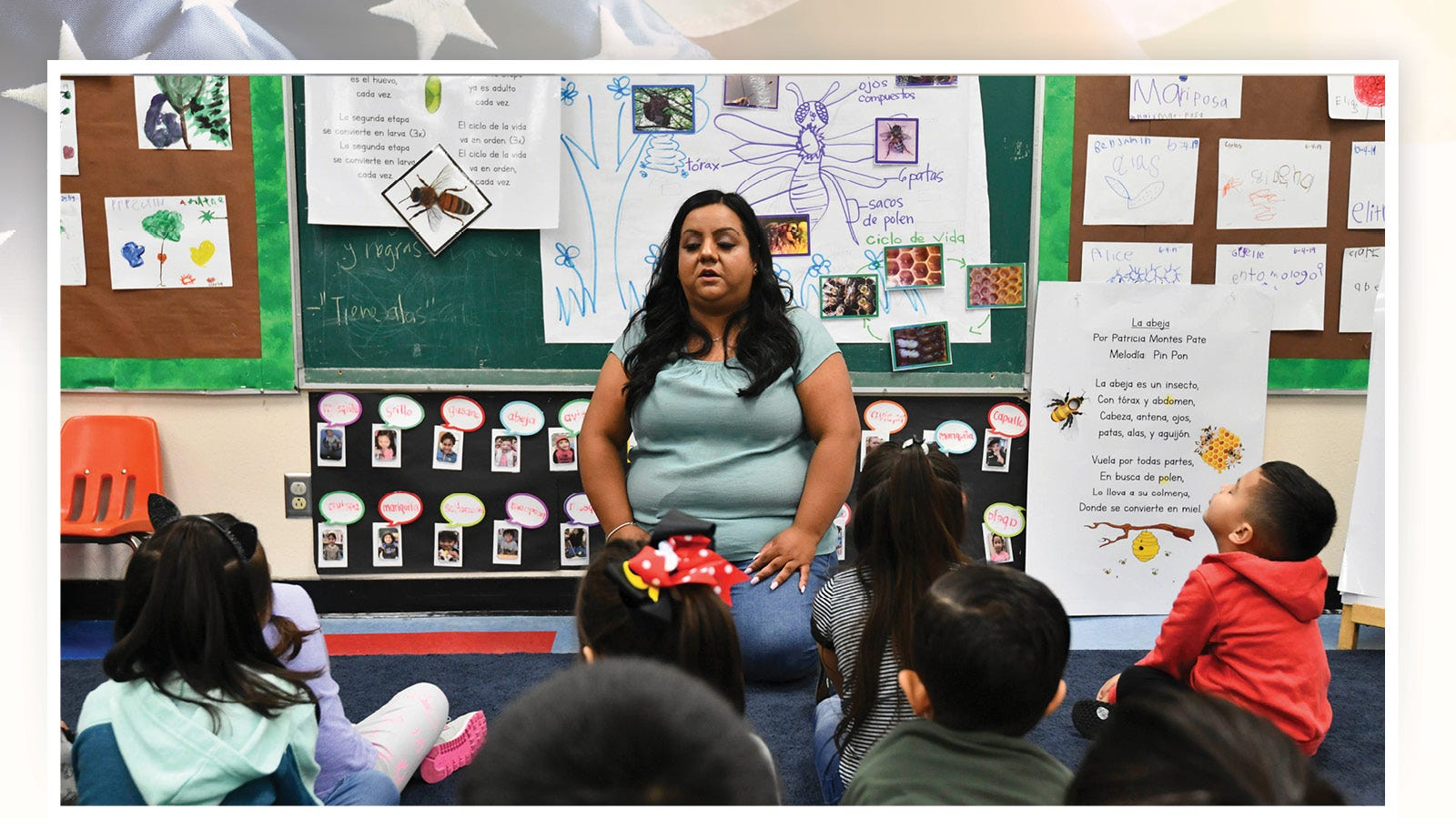 Rosa Ramirez is a preschool teacher at Gates Street Early Education Center in Los Angeles and teaches a class through a bilingual education program.