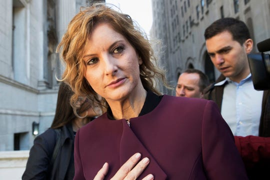 """Summer Zervos leaves New York state appellate court in New York on Oct. 18, 2018. Records filed in Zervos' defamation suit and obtained Monday, Nov. 4, 2019, by The Associated Press indicate that Zervos, a former """"Apprentice"""" contestant, got a call from Donald Trump's phone on Dec. 21, 2007, when she says he rang to invite her to dinner. She says she went for career advice and was sexually assaulted. Trump lawyer Marc Kasowitz said Monday that Zervos' claims """"are entirely meritless and not corroborated by any documents."""""""