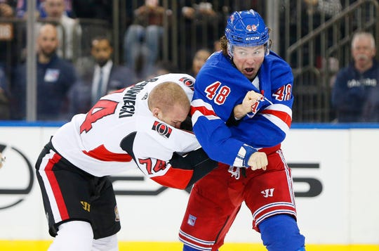 Nov. 4: Ottawa Senators' Mark Borowiecki vs. New York Rangers' Brendan Lemieux.