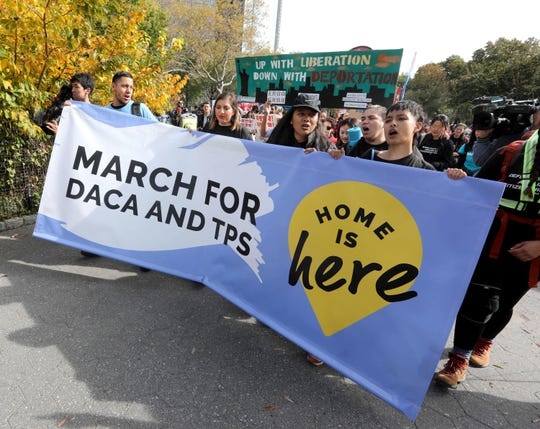 Dozens of DACA recipients and supporters marched through lower Manhattan in late October as they began a 16-day walk from New York City to Washington, D.C. The march will end at the Supreme Court shortly before the court hears a case that could determine whether DACA recipients will be able to stay in the United States or face deportation.