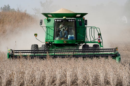 A combine harvests soybeans in rural Blair, Nebraska, in October 2019.