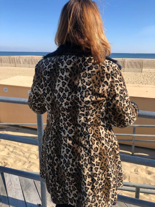 Carolyn Fernandez walked along Asbury Park boardwalk in her favorite fall clothing piece: her leopard skin jacket.