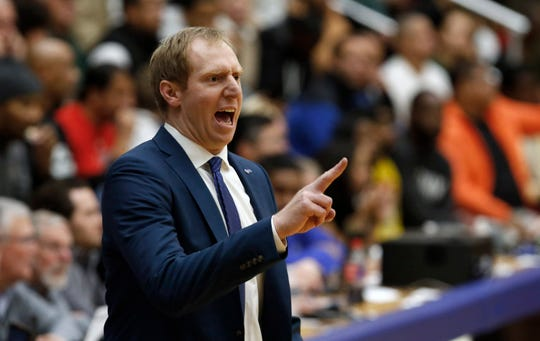 Seton Hall interim coach Grant Billmeier gives instructions to his team during the second half of an NCAA college basketball game against Wagner