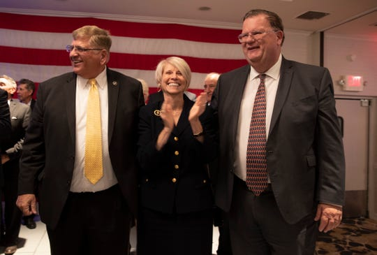 Freeholders Virginia Haines and Jack Kelly celebrate with Sheriff Michael Mastronardy. The Ocean County Republicans celebrated at the Days Inn in Toms River, NJ on November 5, 2019.