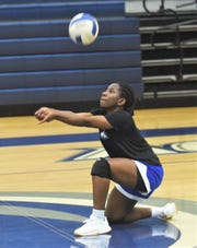 Abilene Christian High's Jochebed Oduro digs a shot during practice Wednesday Nov. 6, 2019. The Lady Panthers play Red Oak Ovilla in the TAPPS Class 2A state semifinals Thursday in Waco.