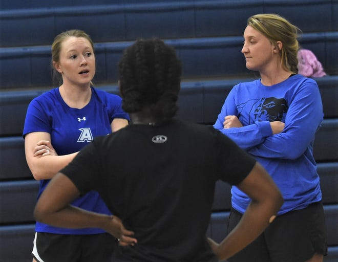 Abilene Christian High coach Breann Shelton, left, talks to her team before practice Wednesday, Nov. 6, 2019. The Lady Panthers play Red Oak Ovilla in the TAPPS Class 2A state semifinals Thursday in Waco.