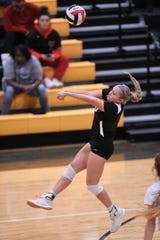 Wylie's Lilly New (10) fights off a serve against Lubbock Monterey during the Region I-5A bi-district playoff at Snyder on Tuesday, Nov. 5, 2019. The Lady Bulldogs won 3-0 for their first-ever Class 5A playoff victory.