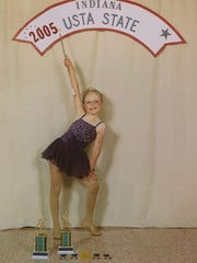 Brianna Bolinger, here at a 2005 competition, became a four-time national champion twirler.