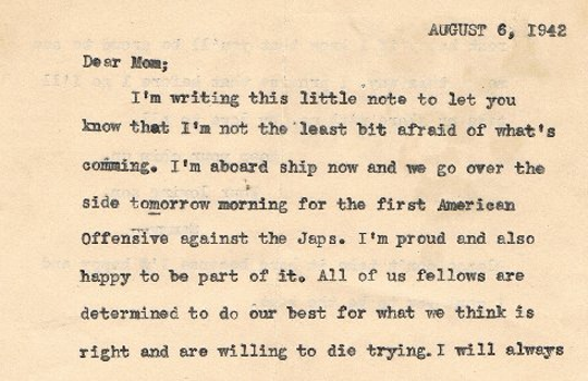 Page 1 of Sammy Speciale's 1942 letter to his mother.