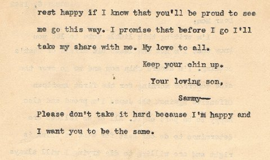 Page 2 of Sammy Speciale's 1942 letter to his mother.