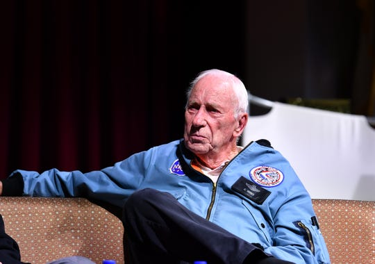 "Apollo 15 astronaut Al Worden speaks at Florida Tech's symposium: ""JFK's Moonshot Mandate: Then, Now and Destiny"" on Nov. 6, 2019 at the Gleason Performing Arts Center at the university."