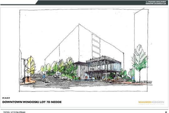The entrance to a hotel proposed for Abenaki Way in Winooski is seen in this drawing created by Wagner Hodgson Landscape Architecture in September 2019. The development would also include a 340-space parking garage and a new headquarters for Vermont Energy Investment Corporation. An agreement between the city and Williston-based developer Nedde Real Estate is expected to be reached before early January 2019.