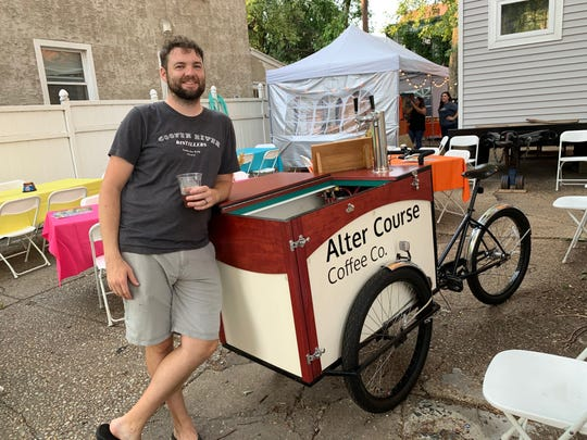 Jordan Mead sips on a cold brew coffee at a Sept. 28 #WasteNot for CFET event at Camden FireWorks. On Sunday, he will officially launch his new business there.