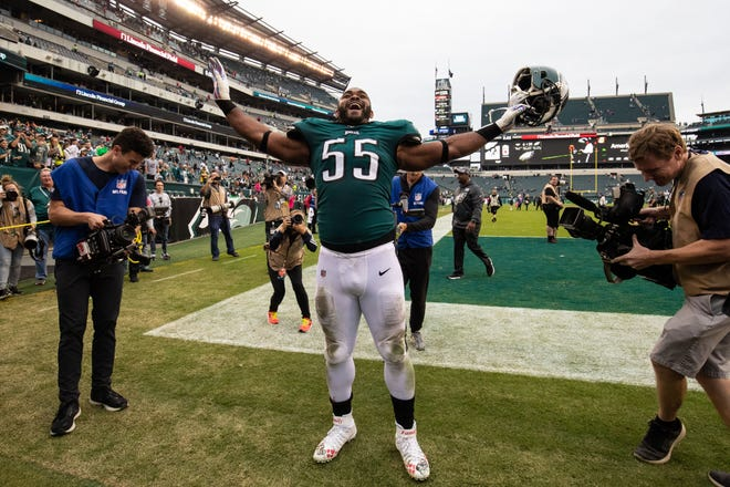 Philadelphia Eagles defensive end Brandon Graham reacts with fans after a victory against the New York Jets earlier this season.