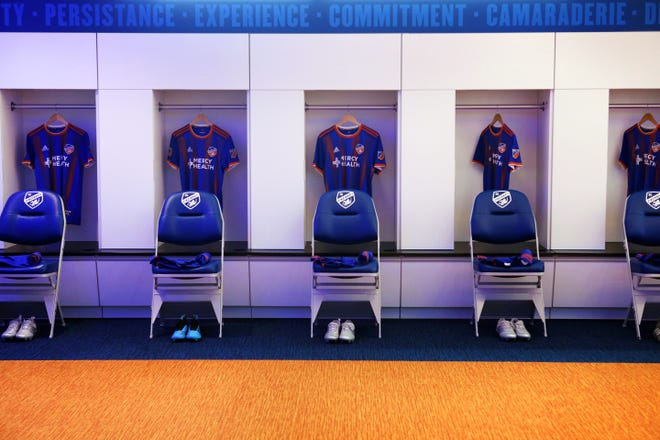 The FC Cincinnati player's locker room at the Mercy Health Training Center, in Milford.
