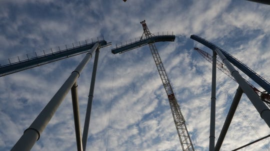 Another lift element is hoisted into place on Orion giga coaster.