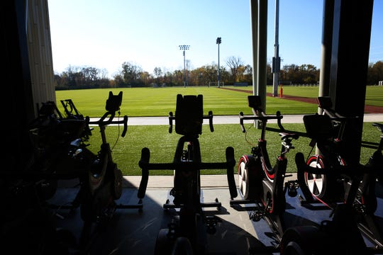 The fitness facility has a door that opens to the soccer fields at the Mercy Health Training Center, in Milford.