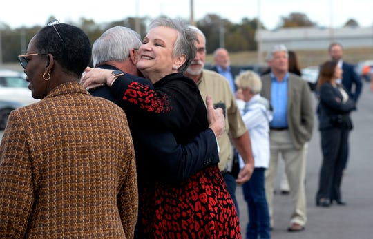 Austin Peay President Alisa White is greeted before Google opens its Montgomery County Data Center on Wednesday.