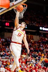 Michael Jacobson of Iowa State dunks the ball during a game against Mississippi Valley State University in Ames Tuesday, Nov. 5, 2019.