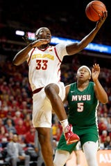 Solomon Young of Iowa State drives to the basket during a game against Mississippi Valley State University in Ames Tuesday, Nov. 5, 2019.