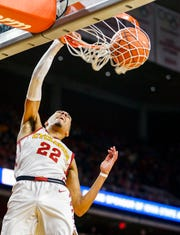 Tyrese Haliburton of Iowa State dunks the ball during a game against Mississippi Valley State University in Ames Tuesday, Nov. 5, 2019.