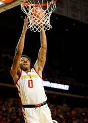 Zion Griffin of Iowa State dunks the ball during a game against Mississippi Valley State University in Ames Tuesday, Nov. 5, 2019.