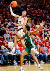 Tyrese Haliburton of Iowa State makes a pass during a game against Mississippi Valley State University in Ames on Nov. 5.