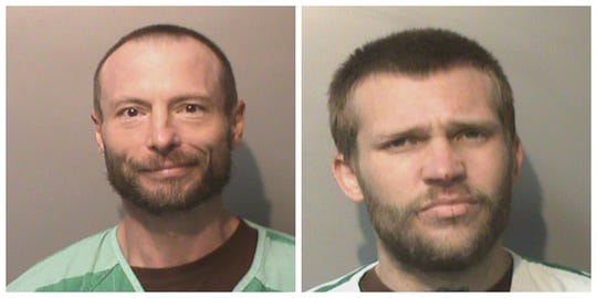 Pictured are 46-year-old Yancy D. Freland, left, and 26-year-old Bryan T. Norris. Each man has been charged with murder in the death of Marshal Aaron Terrell Johnson.