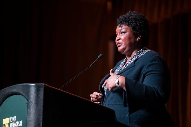 Fair Fight founder Stacey Abrams addresses the crowd at the University of Iowa student union on Monday, Nov. 4, 2019. Abrams spoke on the 100th commencement of the 19th amendment.