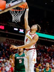 George Conditt IV of Iowa State dunks the ball during a game against Mississippi Valley State University in Ames Tuesday, Nov. 5, 2019.