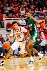 Rasir Bolton of Iowa State drives to the basket during a game against Mississippi Valley State University in Ames Tuesday, Nov. 5, 2019.