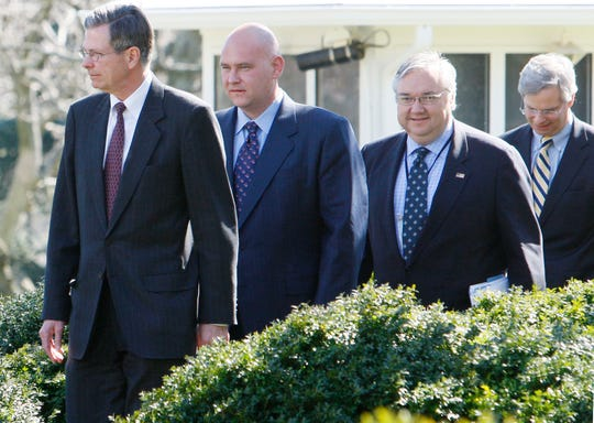 Barry Jackson, second from right, White House political adviser, walks with members of Sen. John McCain's senior campaign staff at the White House on March 5, 2008, before President Bush endorsed McCain for president.