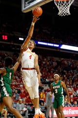 George Conditt IV of Iowa State drives to the basket during a game against Mississippi Valley State University in Ames Tuesday, Nov. 5, 2019.