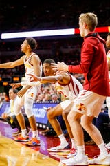 Iowa State players cheer on the team from the bench during a game against Mississippi Valley State University in Ames Tuesday, Nov. 5, 2019.